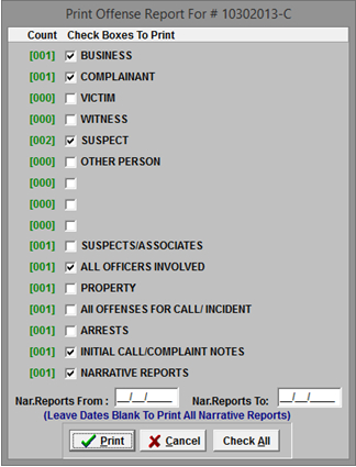 Police Offense Report